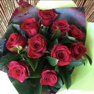 Romantic Bouquet of 10 Beautiful Long Stem Red Roses Valentines Day Flowers Port Macquarie