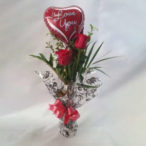 True Love Rose Vase With Balloon Valentines Day Flowers Port Macquarie